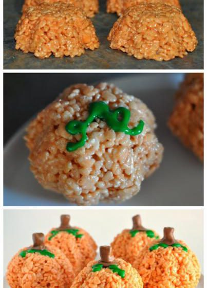 Easy Pumpkin Rice Krispies Treats for Halloween